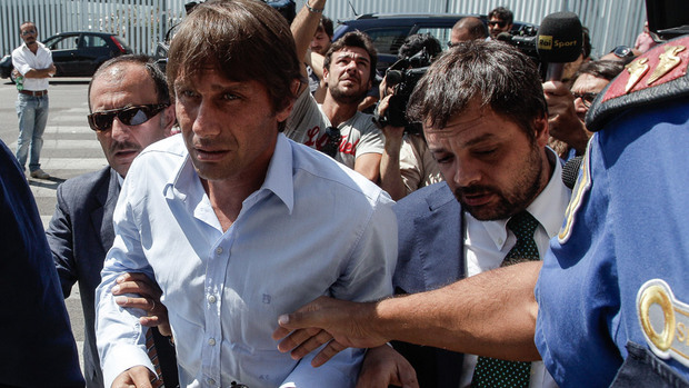 Antonio Conte is led into court to face the charges for match fixing