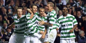 Celtic players celebrate scoring in the 4-3 win over Juventus