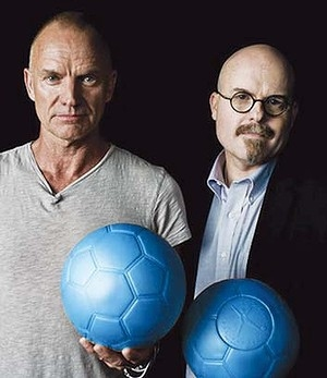 Sting and inventor Tim with the new ball
