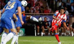 Falcao scored a stunning hat trick against Chelsea in teh Super Cup final