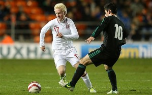 Hughes makes his England Under 21 debut