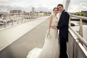Angel and wife Nikki on their wedding day in Swansea (Image from Thisisouthwales.co.uk)