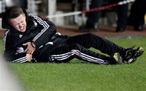 Ball Boy Charlie Morgan rolls in agony (Image for Telegraph.co.uk)