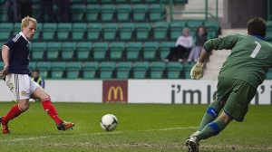 Mackay Steven scores for Scotland under 21s (Image from Sport.stv.tv)