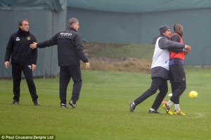 Mancini and Balotelli have to be seperated in training(Image by Paul Cousan Zenpix Ltd)