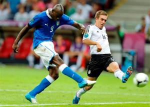 Mario Balotelli scores against Germany (Image from Reuters)