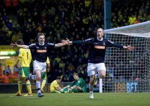 Rendell scores against Norwich (Image from Bedfordshire News.co.uk)