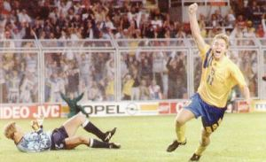 Tomas Brolin scores for Sweden (Image from Getty)