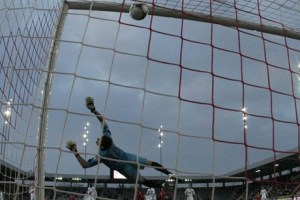 Roldon is helpless as the ball flies into the net (Image from Guardian.co.uk)