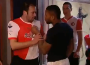 Lens gets shirty after he game (Image from Youtube)
