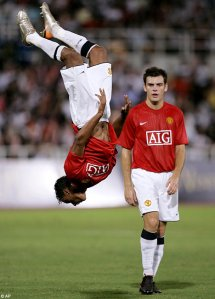 The now famous Nani Flip Goal Celebration (Image from AP)