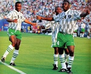 Amokachi and co celebrate scoring in the 1994 World Cup (Image from Reuters)