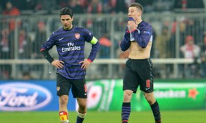 Heartbreak for Arsenal against Bayern (Image from Guardian.co.uk)