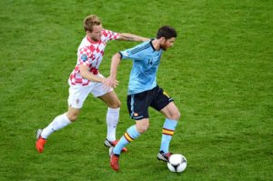 Spain's Alonso man marked by a croatian defender (Image from Getty)