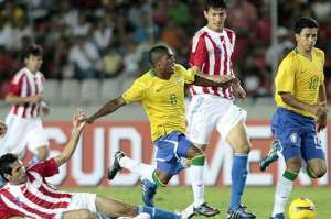Brazil's under 20's struggle against Peru (Image from PA)
