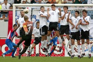 Chilavert scores from a free kick against Germany (Image from Getty)