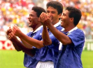 Bebeto and his famous Rocking the Cradle celebration at USA 94 (Image from Getty)