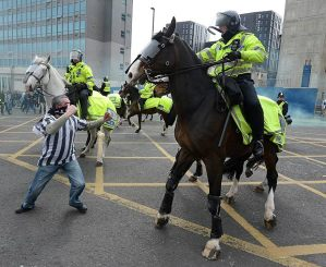 A Newcastle fan punches a horse (Image from Getty)