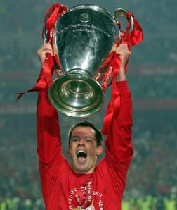 Carragher's lifts the Champions League Trophy  (Image from Getty)