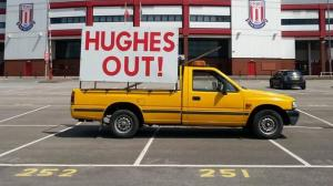 Stoke fans protest Hughes appointment  (Image from Getty)