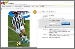 Amauri- listed by Juve Fans on EBay  (Image from EBay)
