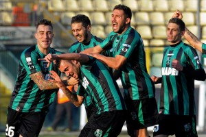 Sassuolo players celebrate promotion  (Image from Getty)
