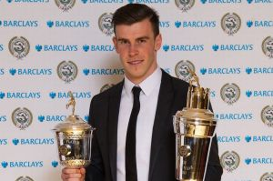 Clean sweep - Player of the Season Bale picks up his awards (Image from PFA)