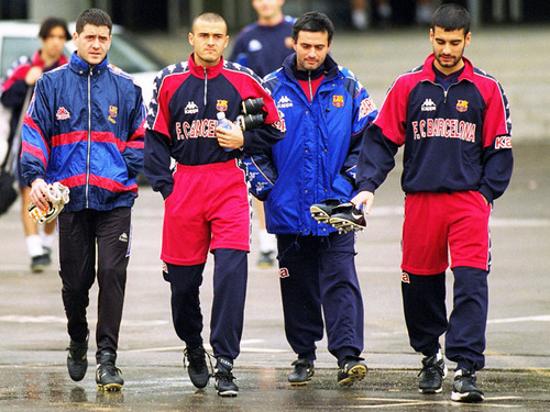 Enrique and Guardiola during their playing days at Barca (image from getty)