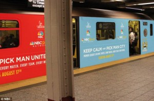 Even the Subway Cars are picking sides  (Image from AP)