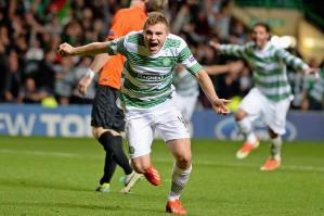 Forrest strike sends Celtic into the Champions League (Image from TheSun.co.uk)