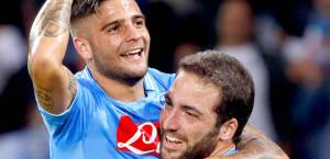 Goalscorers Insigne and Higuain celebrate Napoli's second goal  (Image from AFP)