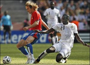 Addo tackles Czech star Pavel Nedved during World Cup 2006  (Image from Getty)