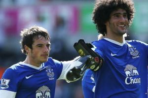 Baines and Fellaini were the subject of a joint United bid  (Image from Getty)