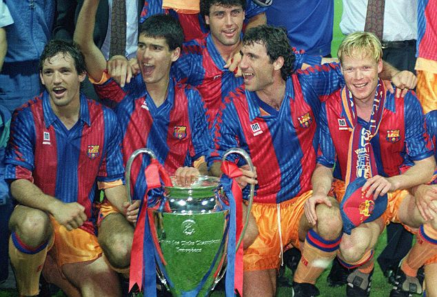 Barca players including Stoichkov celebrate their first European Cup (Image from Colorsport / Andrew Cowie)