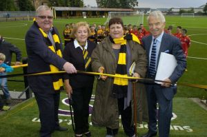 Colin and Chris Weir attend the opening of Barrfield's new pitch  (Image from Daily Record.co.uk)