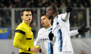 Yaya Touré reacts to racist chants from the Moscow fans  (Image from Getty)