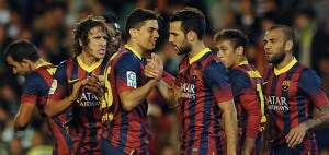 Barca romped to a 4-1 win despite losing Messi  (Image from Getty)