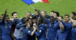 France celebrate reaching the World Cup  (Image from AFP)