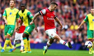 Arsenal's Jack Wilshere scores the first goal against Norwich City in the Premier League (Image from Getty)