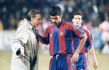 The master and the apprentice - Cruyff and Guardiola (Image from Getty)