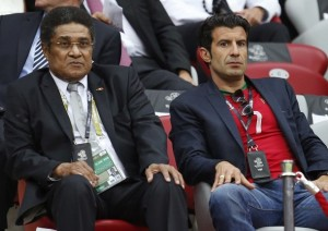 An Audience with The King - Figo and Eusebio watch Portugal play in Euro 2012  (Image from AP Photo/Armando Franca)
