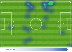 Not so Cleverly - Tom's heatmap shows his lack of effort  (Image from OPTA)