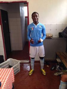 Lazio's new star Joepsh Minala has been accused of being older (Image from AFP)