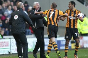 Pardew and Meyler have to be seperated after the incident  (Image from Getty)
