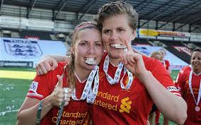 Katrin Omarsdottier (right) will be hoping for more Liverpool success this year  (Image from Getty)