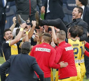 Atletico celebrate their first title in 18 years (Image from AP)