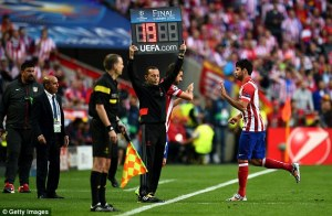 Diego Costa limps off during the Champions League Final  (Image from PA)
