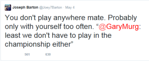 Joey Barton doesn't hold back when replying to fans comments  (Image from Twitter)