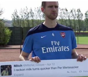 Per and his Arsenal temmates star in the new Paddy Power advert (Image from PP)