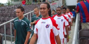 Jaiyah Saelua leads American Samoa out against Tonga (Image from Getty)
